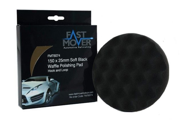 Soft Black Waffle Polishing Pad 150x25mm